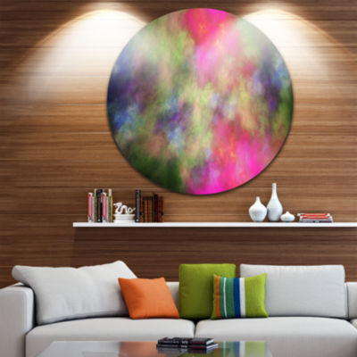 Design Art Pink Starry Fractal Sky Abstract RoundCircle Metal Wall Decor
