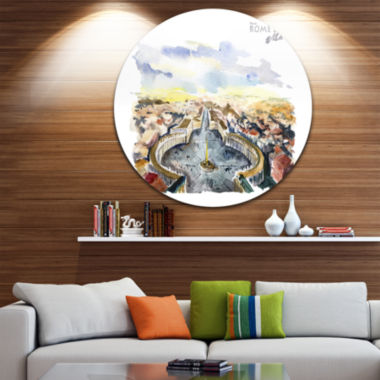 Design Art Rome Hand drawn Illustration Disc Cityscape Painting Circle Metal Wall Art
