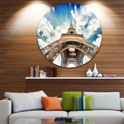 Design Art Paris Eiffel Tower with Fast Moving Clouds Disc Photography Circle Metal Wall Art