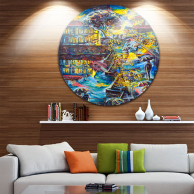 Design Art Night City Graphics Art Cityscape LargeMetal Circle Wall Art