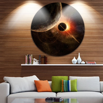 Design Art Planet with Rings Disc Contemporary Artwork on Circle Metal Wall Art