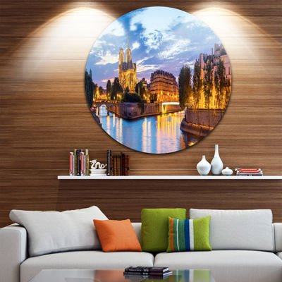 Design Art Notre Dame Cathedral Landscape Photography Circle Metal Wall Art