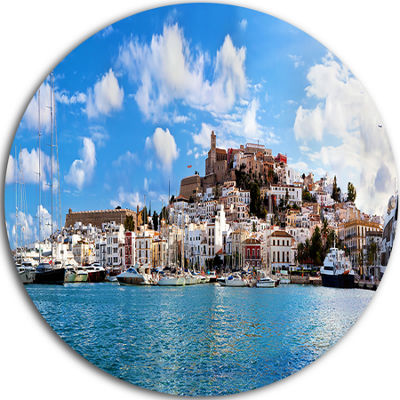Design Art Panorama of Ibiza Spain Disc CityscapePhoto Circle Metal Wall Art