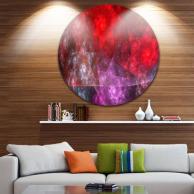 Design Art Red Purple Symphony of Gems Abstract Round Circle Metal Wall Decor