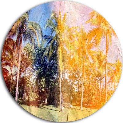 Design Art Retro Palms in Yellow Shade Landscape Painting Circle Metal Wall Art