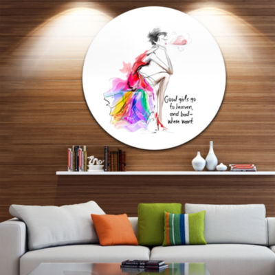 Design Art Pretty Fashion Girl Pink Abstract Portrait Circle Metal Wall Art