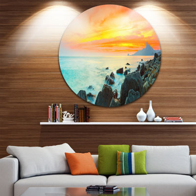 Design Art Panoramic Sunset Disc Photography Circle Metal Wall Art