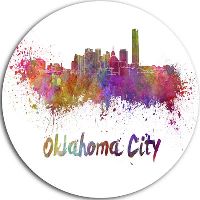 Design Art Oklahoma Skyline Disc Cityscape Metal Artwork Print