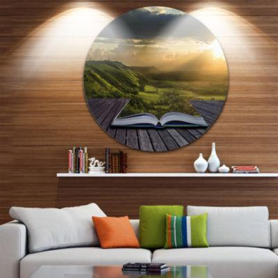 Design Art Open Book to Green Valley Disc Contemporary Landscape Circle Metal Wall Art