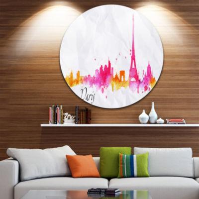 Design Art Paris Pink Silhouette Disc Cityscape Painting Circle Metal Wall Art