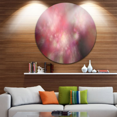 Design Art Red Blur Sky with Stars Abstract RoundCircle Metal Wall Decor