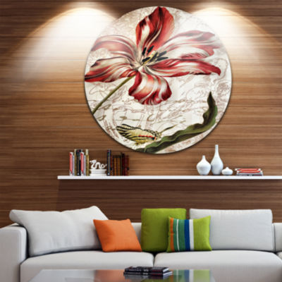 Design Art Red Floral Pattern with Butterfly Floral Circle Metal Wall Art