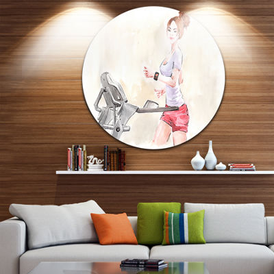 Design Art Pretty Workout with Fitness Watch DiscLarge Contemporary Circle Metal Wall Arts