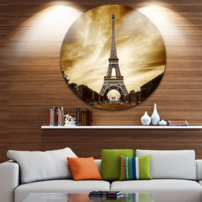 Design Art Paris Eiffel Tower in Grey Shade Disc Landscape Photography Circle Metal Wall Art