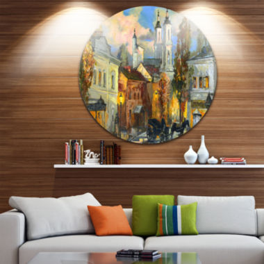 Design Art Old City Cityscape Circle Metal Wall Art