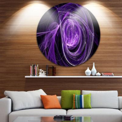 Design Art Purple Ball of Yarn Disc Abstract Circle Metal Wall Art