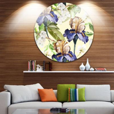 Design Art Seamless Flowers Vector Art Floral Circle Metal Wall Art