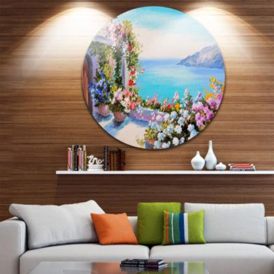 Design Art Sea and Flowers Landscape Circle MetalWall Art