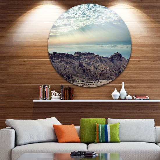 Design Art Remote Mountains in Morning Disc Contemporary Circle Metal Wall Art