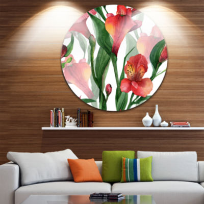 Design Art Red Floral Pattern Art Disc Floral Circle Metal Wall Art