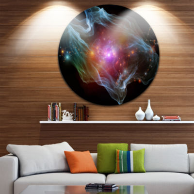 Design Art Purple Lights of Network Abstract Circle Metal Wall Art