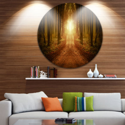 Design Art Road in Symmetrical Forest Landscape Photography Circle Metal Wall Art