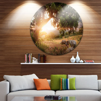 Design Art Picturesque Foros Mountains Abstract Art on Round Circle Metal Wall Decor Panel
