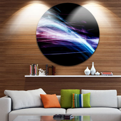 Design Art Purple Blue Lines in Black Abstract Circle Metal Wall Art