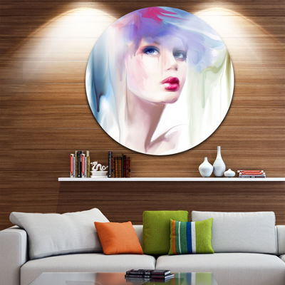 Design Art Portrait of Beautiful Girl Disc Portrait Circle Metal Wall Art