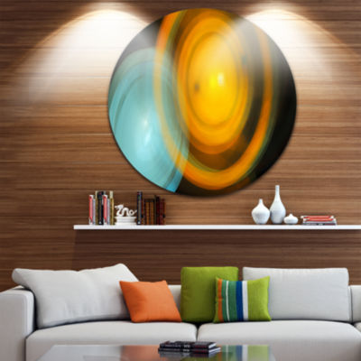 Design Art Orange Fractal Desktop Abstract CircleMetal Wall Art