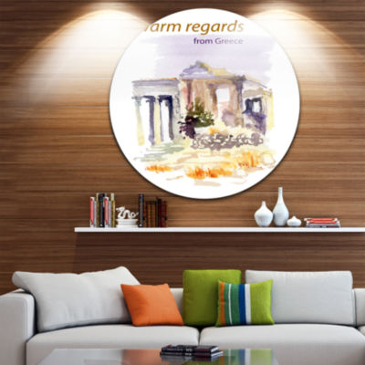 Design Art Old Greece Vector Illustration Disc Cityscape Painting Circle Metal Wall Art