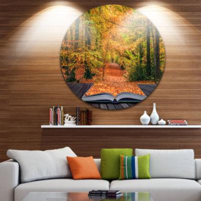 Design Art Open Book in Autumn Disc Landscape Circle Metal Wall Art