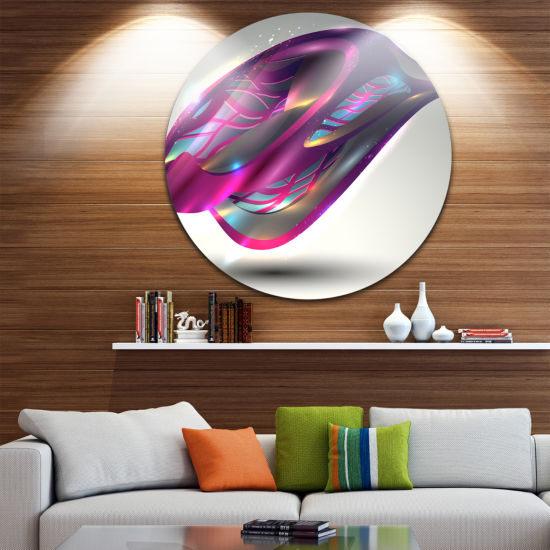 Design Art Purple Associative Illustration Disc Contemporary Circle Metal Wall Art