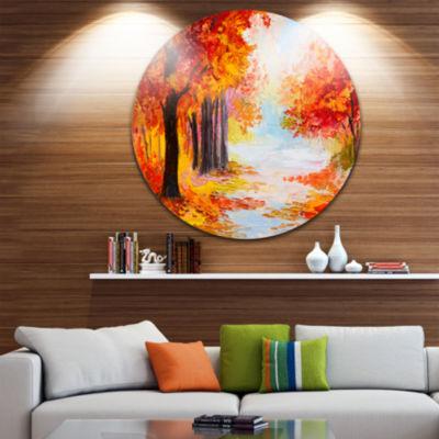 Design Art Orange Forest in Autumn Landscape Circle Metal Wall Art