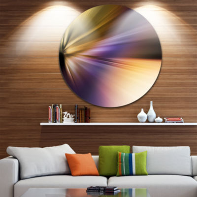 Design Art Rays of Speed Purple Brown Large Abstract Circle Metal Wall Art