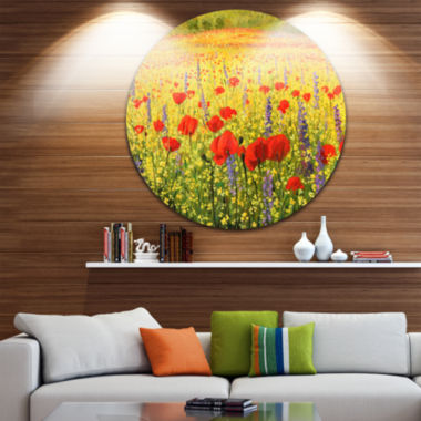 Design Art Sea of Blossom Landscape Circle Metal Wall Art