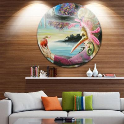 Design Art Secret of Temptation Disc Abstract Portrait Circle Metal Wall Art