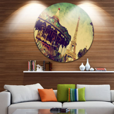 Design Art Paris Eiffel Tower Retro Style Disc Landscape Circle Metal Wall Art