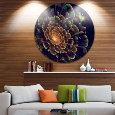 Design Art Orange Metallic Fractal Flower Disc Large Contemporary Circle Metal Wall Arts