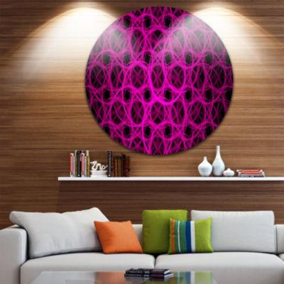 Design Art Pink Unusual Fractal Round Metal GrillAbstract Round Circle Metal Wall Decor