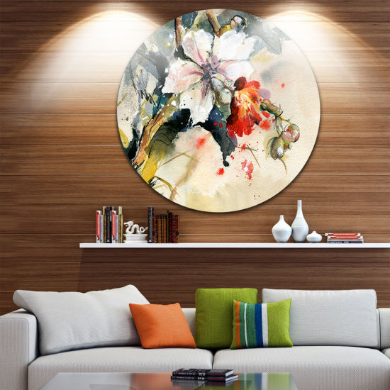 Design Art Orchid in Bloom Floral Metal Circle Wall Art