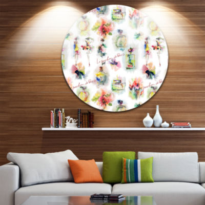 Design Art Perfume Bottles and Flowers Disc Abstract Circle Metal Wall Art