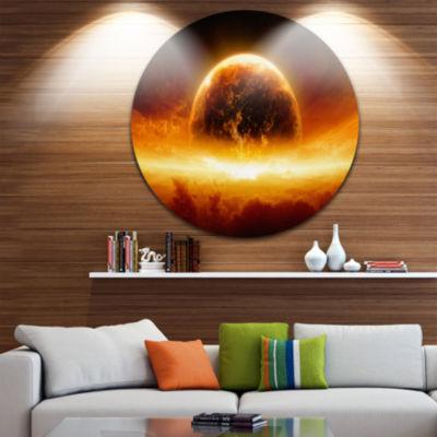 Design Art Planet Earth Explosion Disc Contemporary Circle Metal Wall Art