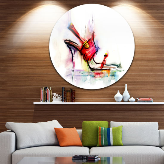Design Art Red High Heel Shoe Disc Abstract CircleMetal Wall Art