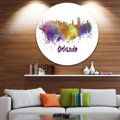 Design Art Orlando Skyline Disc Cityscape Circle Metal Wall Art