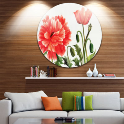 Design Art Red Poppies Disc Abstract Watercolor Circle Metal Wall Art