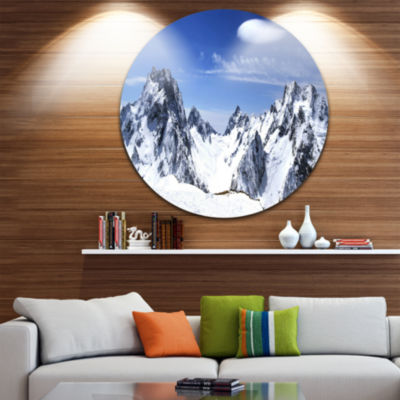Design Art Panorama Caucasus Mountains Disc Photography Circle Metal Wall Art