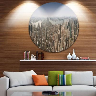 Design Art NYC 360 Degree Panorama Disc CityscapePhotography Circle Metal Wall Art