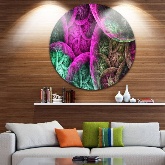 Design Art Pink Green Dramatic Clouds Abstract Round Circle Metal Wall Decor