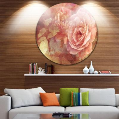 Design Art Pink Roses in Vintage Style Floral Circle Metal Wall Art
